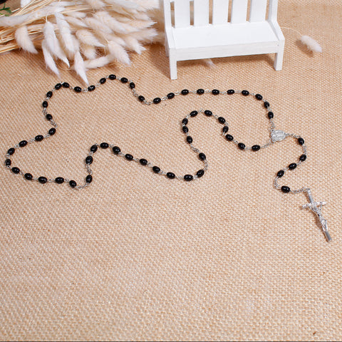 DoreenBeads 2017 New Women Bohemia Necklaces Y Shaped Lariat Necklace Gem Stone Prayer Rosary Beads Jesus Cross Pendant 50-64cm - Growing Kids