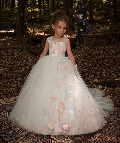 Fancy Butterfly Decoration Ivory Tulle Flower Girl Dress Sheer Neckline Cap Sleeves Kids Pageant Ball Gowns with Rhinestones - Growing Kids