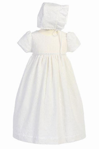 Cotton Eyelet Christening Dress #GG-3492 - Growing Kids