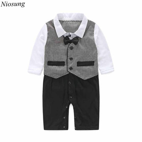 Handsome Baby Boy Formal Party Long Sleeve Christening Wedding Tuxedo Waistcoat Bow Tie Kids Child Clothing Suit 0-24M v - Growing Kids