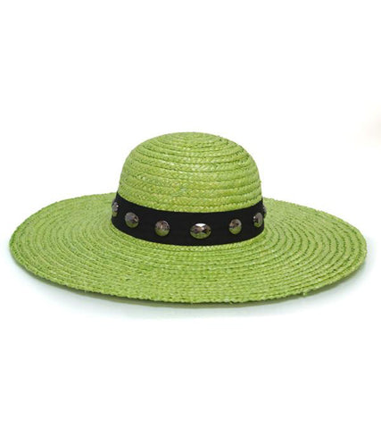 Lime Green Wheat Straw Wide Bejeweled Brim Hat - Growing Kids