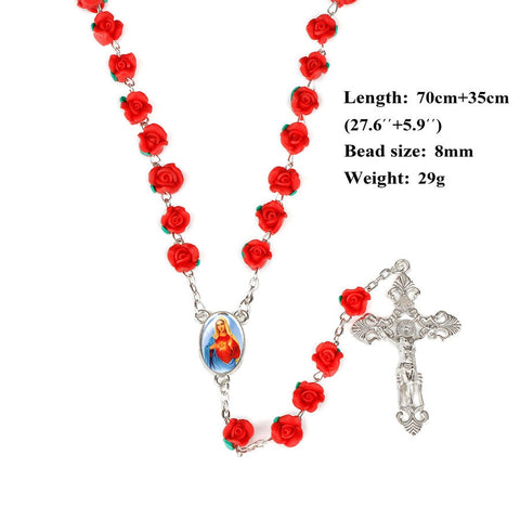 New Arrival 8mm Polymer Clay Rose Beads Rosary Catholic Necklace With Holy Soil Medal Crucifix Prayer Religious Cross Necklaces - Growing Kids