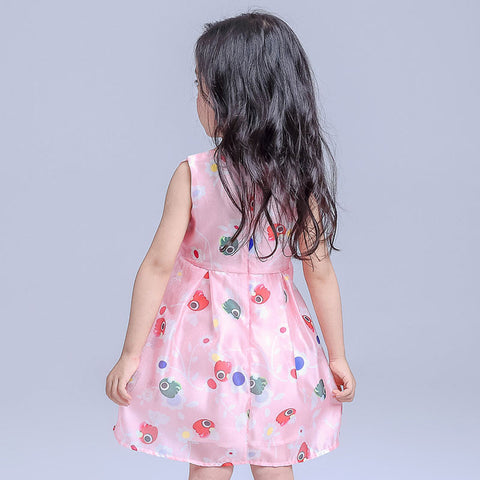 New Chiffon Girl Dresses Front Big Bow Pink Children Party Wedding Costume Dress Sleeveless Cartoon Print Vestido Clothes 3-8Yrs - Growing Kids