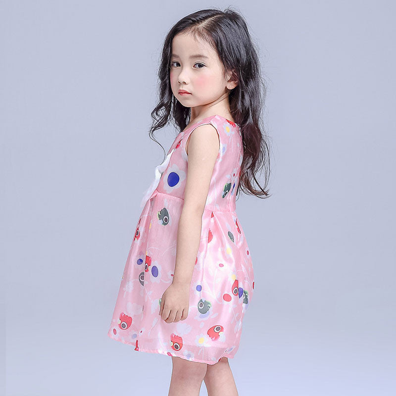 New Chiffon Girl Dresses Front Big Bow Pink Children Party Wedding ...