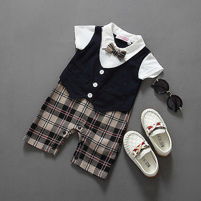 Newborn BABYGROW Baby Boy Clothes New Christening Formal Party Bodysuit Outfit Gift short Sleeve Summer 6 9 12 18 24 Monthes - Growing Kids