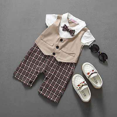 7e84c6b4dc012 ... Newborn BABYGROW Baby Boy Clothes New Christening Formal Party Bodysuit  Outfit Gift short Sleeve Summer 6 ...