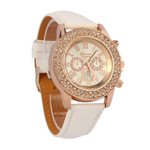 Luca's Al -Vogue Fashion Citizen watch Waterproof High Women Ladies Crystal Dial Quartz Analog Leather Witcher Bracelet Wrist Watch