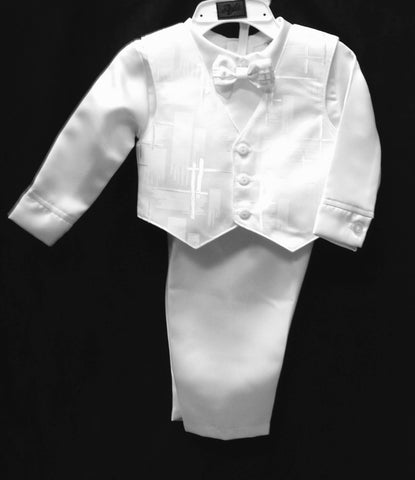 4pcs. Christening Vest set w/Bonnet #Zg-Z288 - Growing Kids