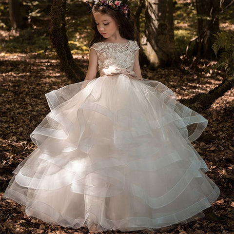 2OBF: Flower Girl Dresses Elegant Champagne Lace Appliqué Sleeveless Cascading Kids Pageant Gowns For Weddings First Communion Dresses