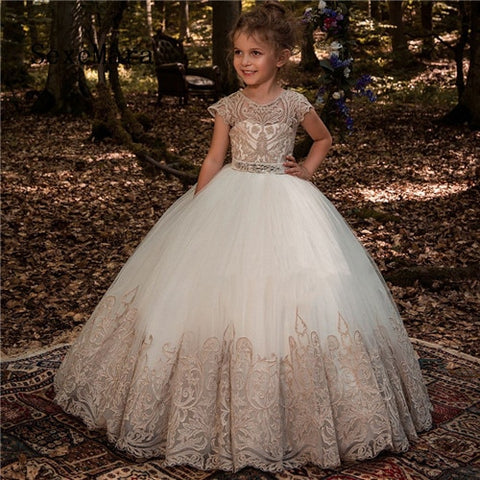 OB: Princess Ball Gowns Flower Girl Dresses for Wedding 2019 Cap Sleeve Champagne Lace First Communion Dresses - Growing Kids