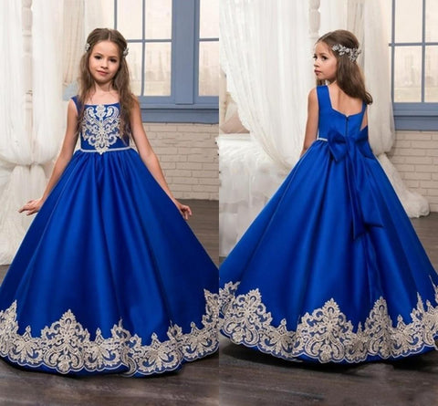 OBF- Girl Dresses Big Bow Flower Girl Dresses 2019 Gold Applique Girls Pageant Dress First Communion Dresses - Growing Kids
