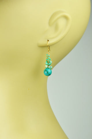 Turquoise Cascade Cluster Earrings - Growing Kids