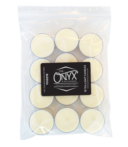 Buddha - 12 Pack Essential Oil Tea Lights - Onyx Exchange