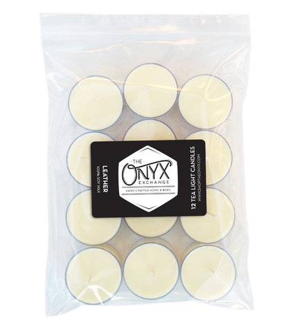 Leather - 12 Pack Tea Lights - Onyx Exchange
