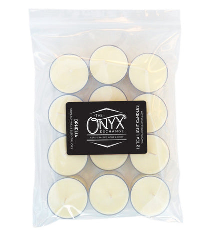 Ophelia - 12 Pack Essential Oil Tea Lights - Onyx Exchange