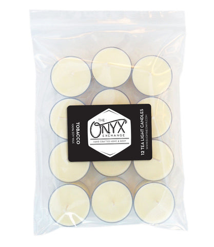 Tobacco - 12 Pack Tea Lights - Onyx Exchange