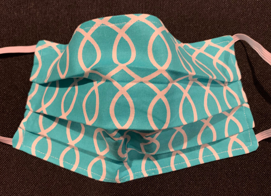 Cotton Face Mask - Light Blue and White (1) (Reversible)