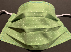 Cotton Face Mask - Green and Teal (Reversible)