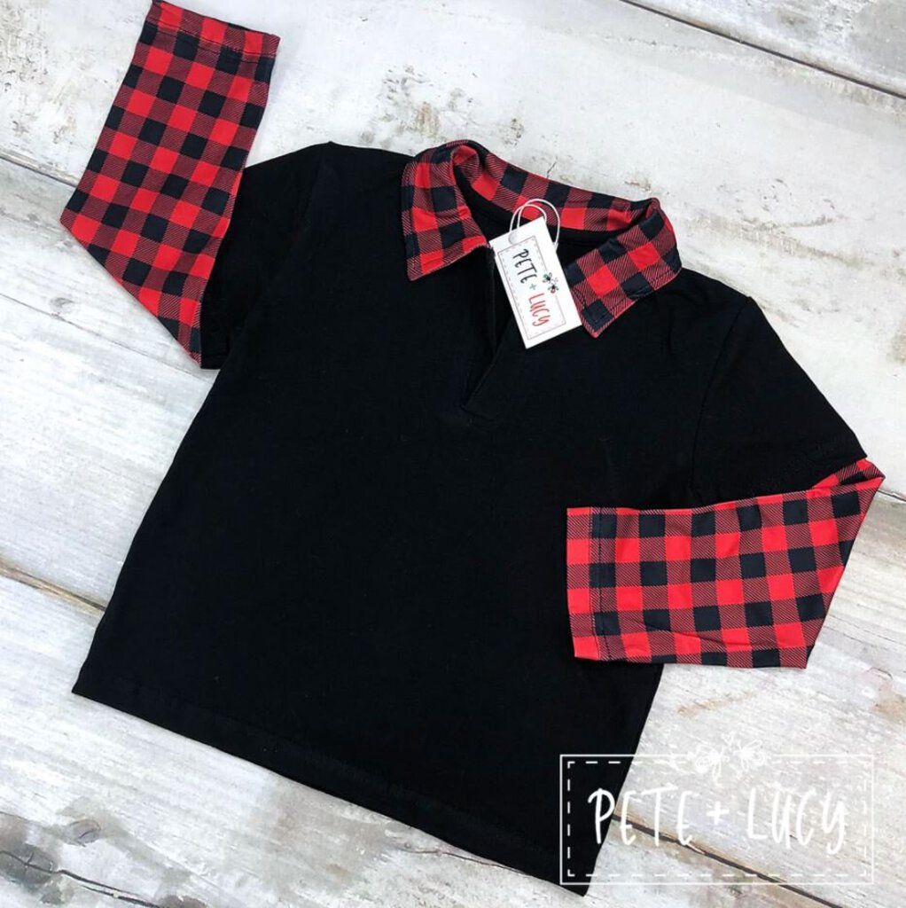 Long Sleeve Collared Shirt - Red Buffalo Plaid