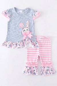 PINK BUNNY STRIPE FLORAL RUFFLE SET