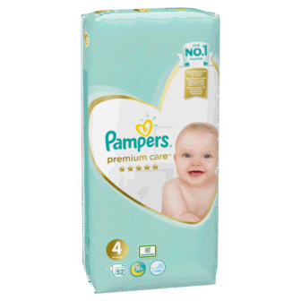 Pelena PAMPERS Premium Nr 4 Value Pack (pesha 9-14 kg) 52 cope/pako