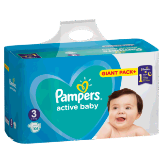 Pelena PAMPERS Giant Pack Plus Nr 3 Midi (pesha 5-9kg) 104 cope/pako