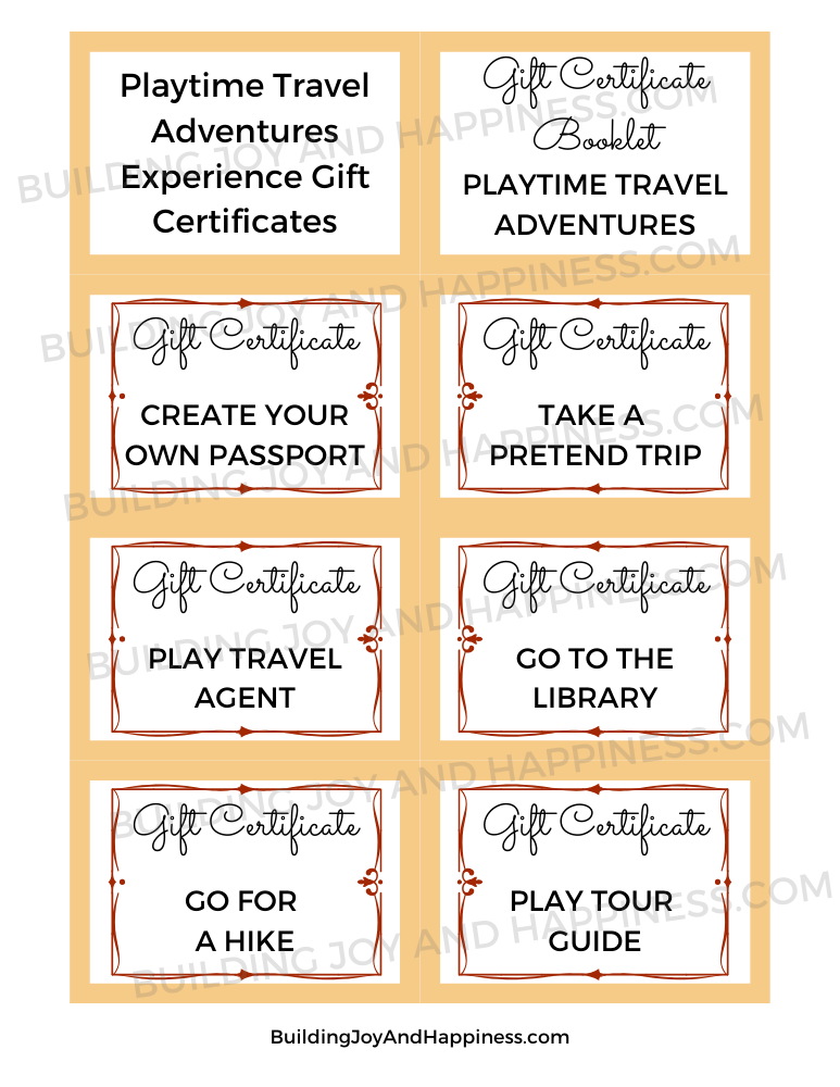 Playtime Travel Adventures - Experience Gift Certificates - Digital Download