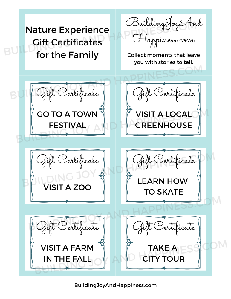 Love of Nature - Experience Gift Certificates - Digital Download