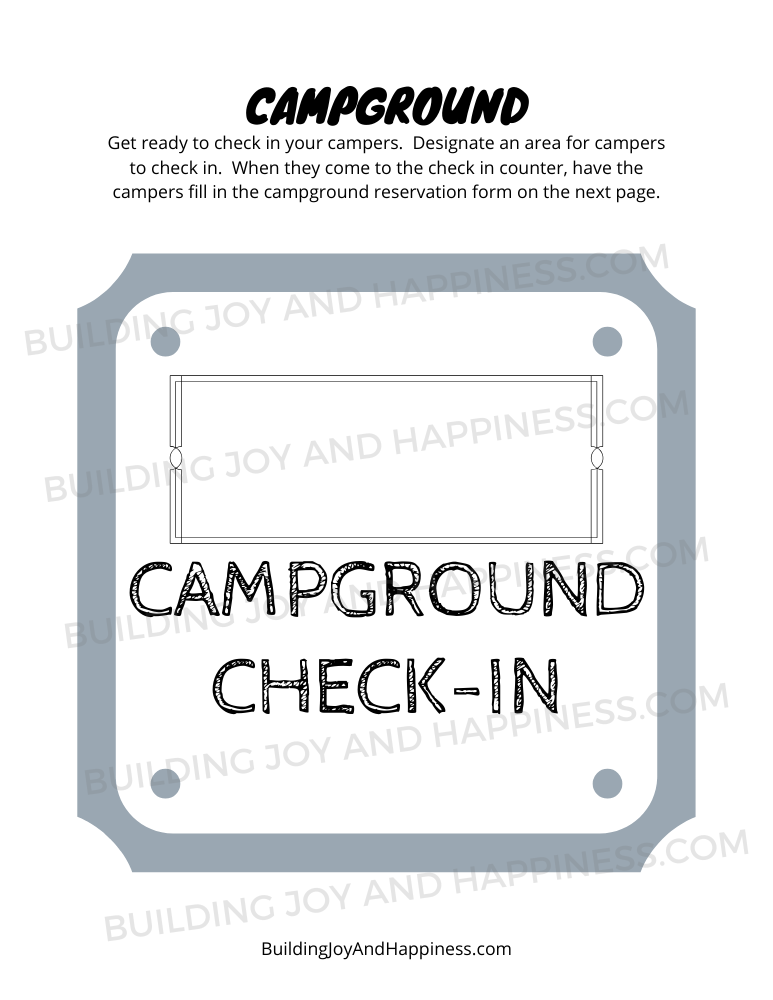 Campground - Play Time Fun - Digital Download