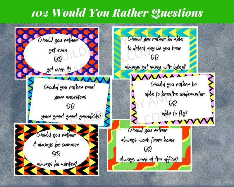 Six samples of the Would You Rather questions in this product.