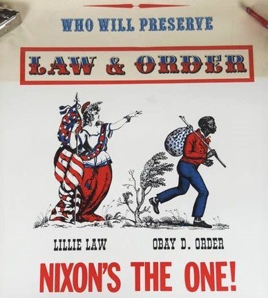 "Racist election propoganda from 1968, featuring a white lady liberty, titled ""Lilly Law"" directing a Black Man labeled ""Obay D. Order"" to travel off-page. The tropes are clear. White women representing, (but not actually possessing) legal power, white person in control of a Black person's actions or location, and a Black man labeled with obedience. These are the ""Make America Great Again"" of the 60s."