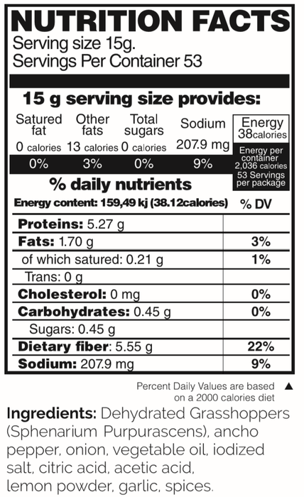 MerciMercado Chapulines Adobo Recipe 28.2 Oz Nutrition Facts