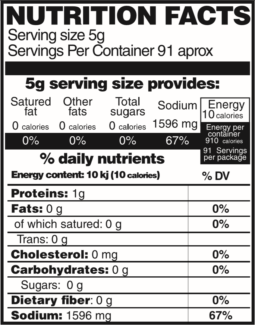 Sal de Chapulín (Grasshoppers salt) 1 lb Nutrition Facts