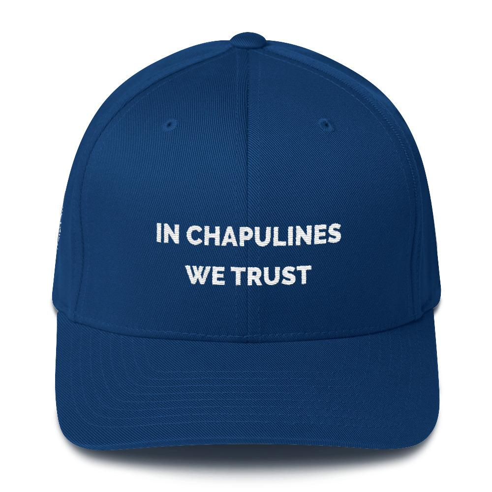 MerciMercado In chapulines We Trust Cap Front View Royal Blue