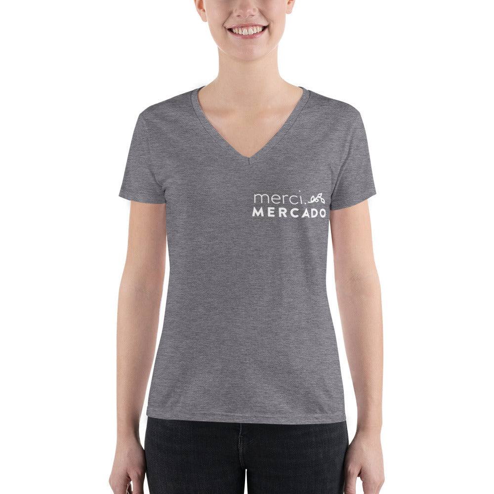 InChapulinesWeTrust Women's Fashion Deep V-neck Tee Front View Grey