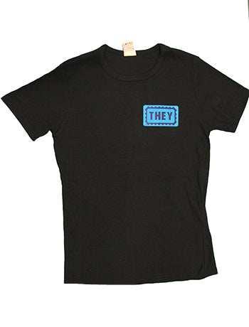 Black They/Them Fitted Crew-Neck T-Shirt