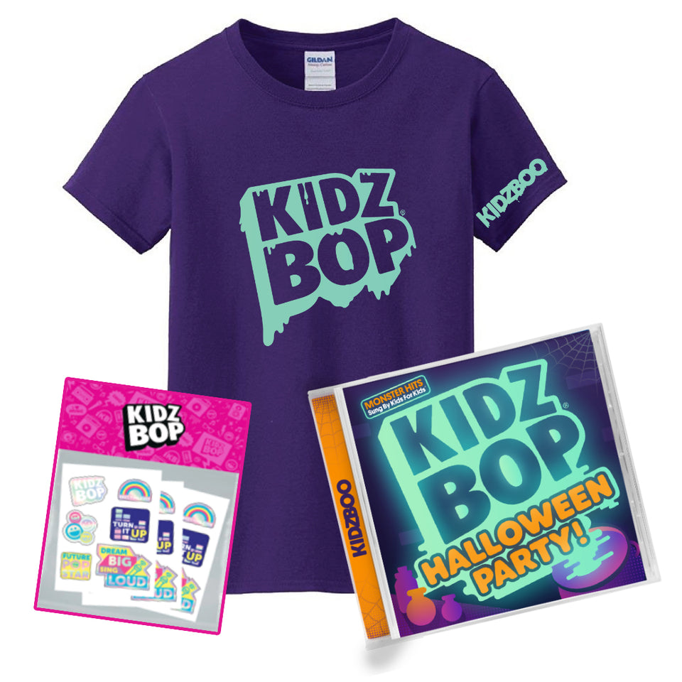 KIDZ BOP Halloween Party! Deluxe Youth Glow-In-The-Dark Tee Bundle