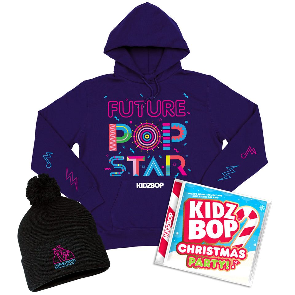 KIDZ BOP Christmas Party! Deluxe Hoodie + Beanie Bundle