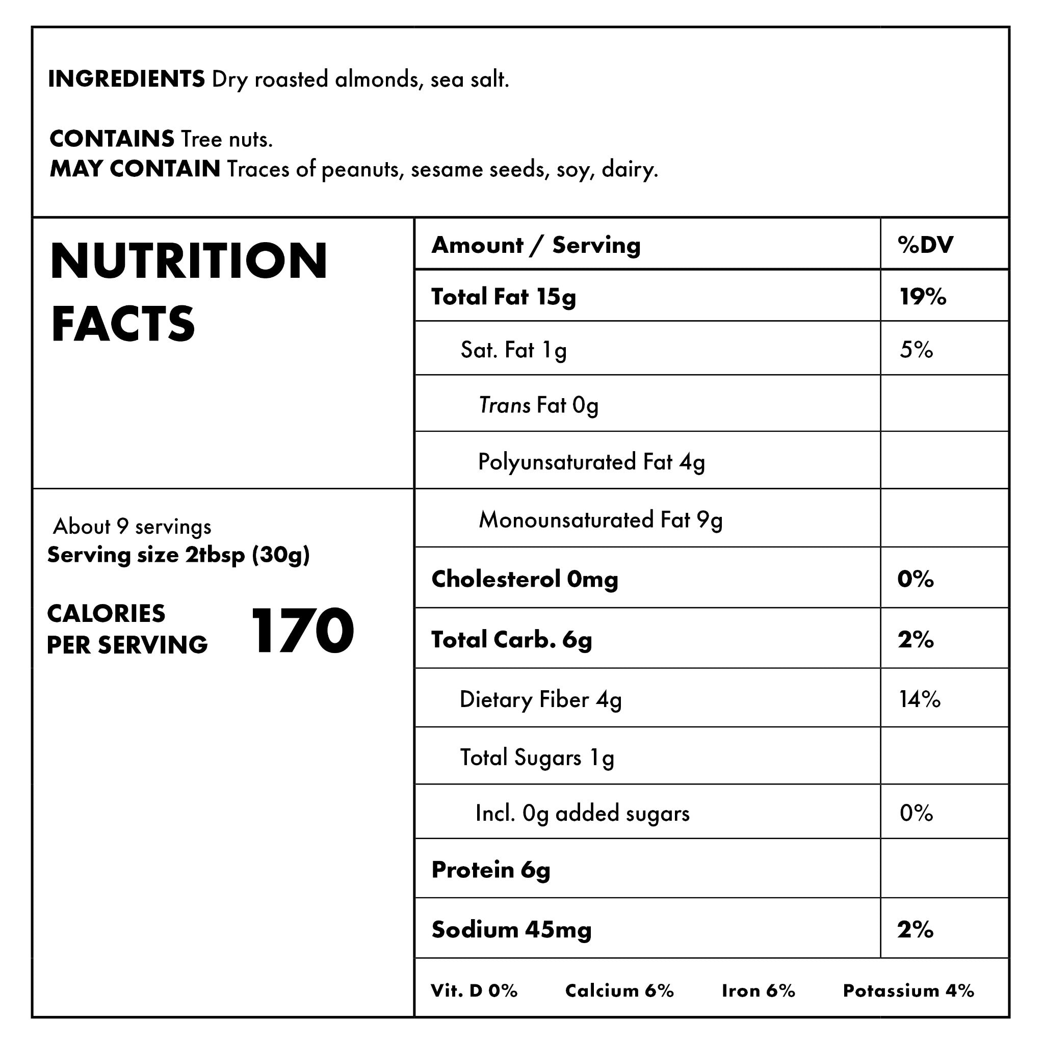 Smooth Almond 10oz Nutritional Information