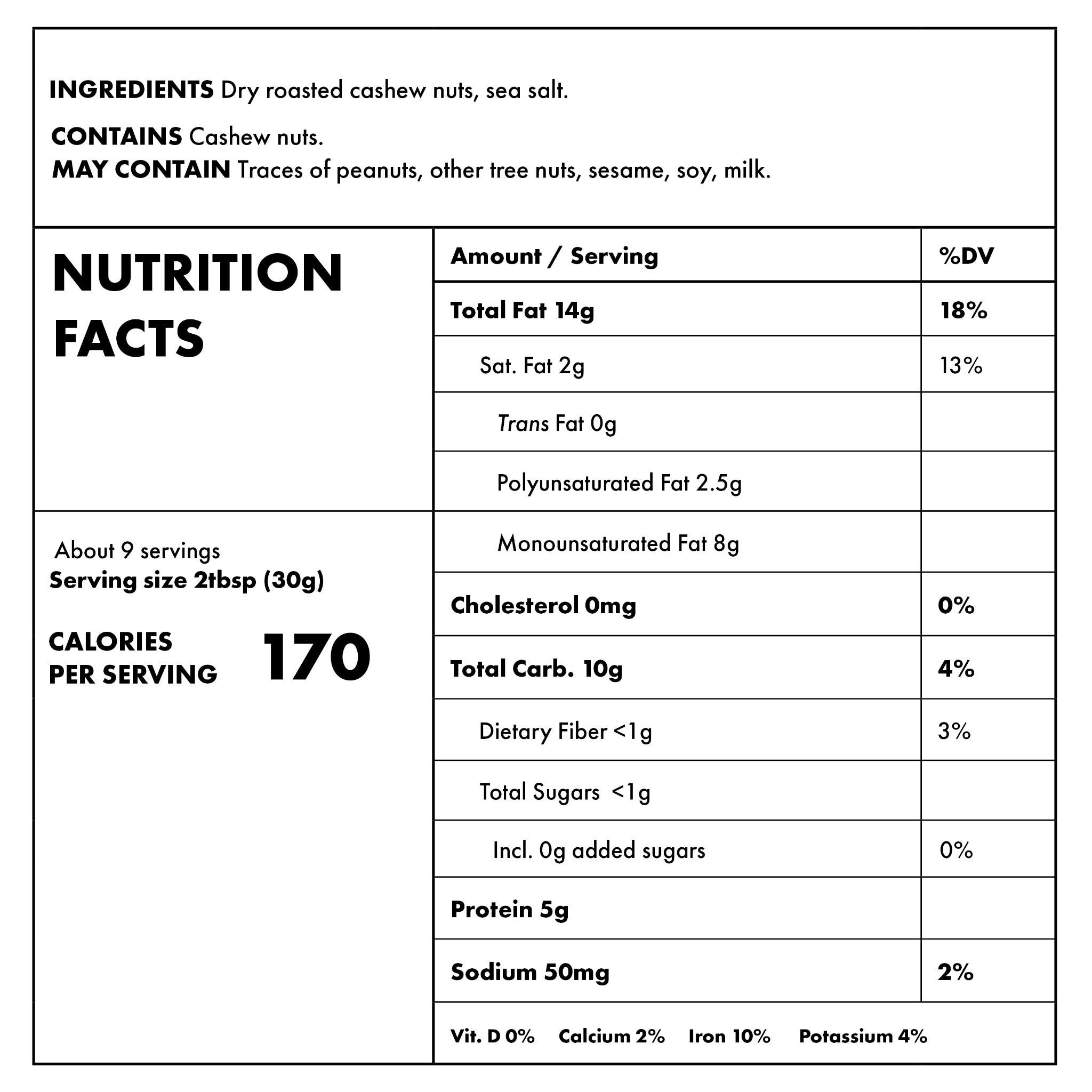 Cashew Butter Nutritional Information