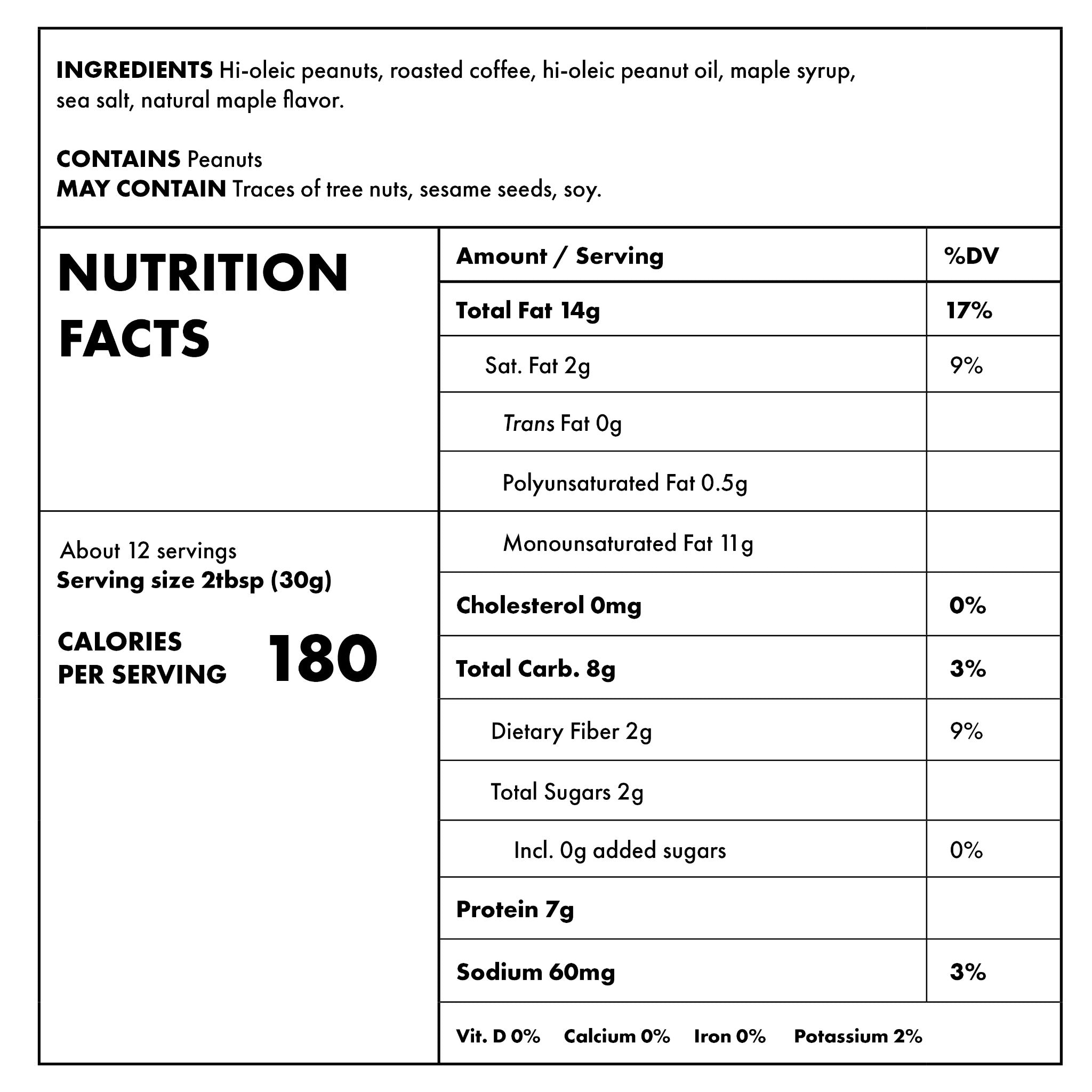 Coffee and Maple Nutritional Information