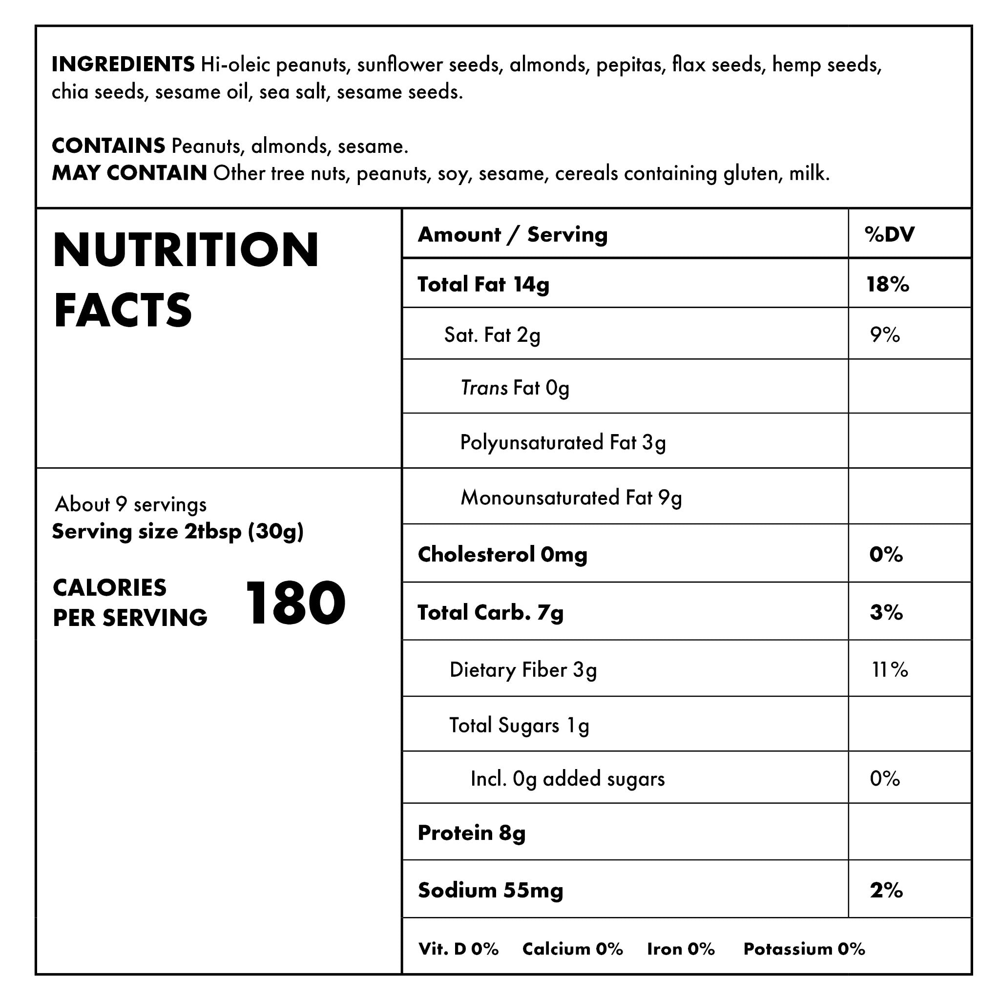 Everything Butter 10oz Nutritional Information