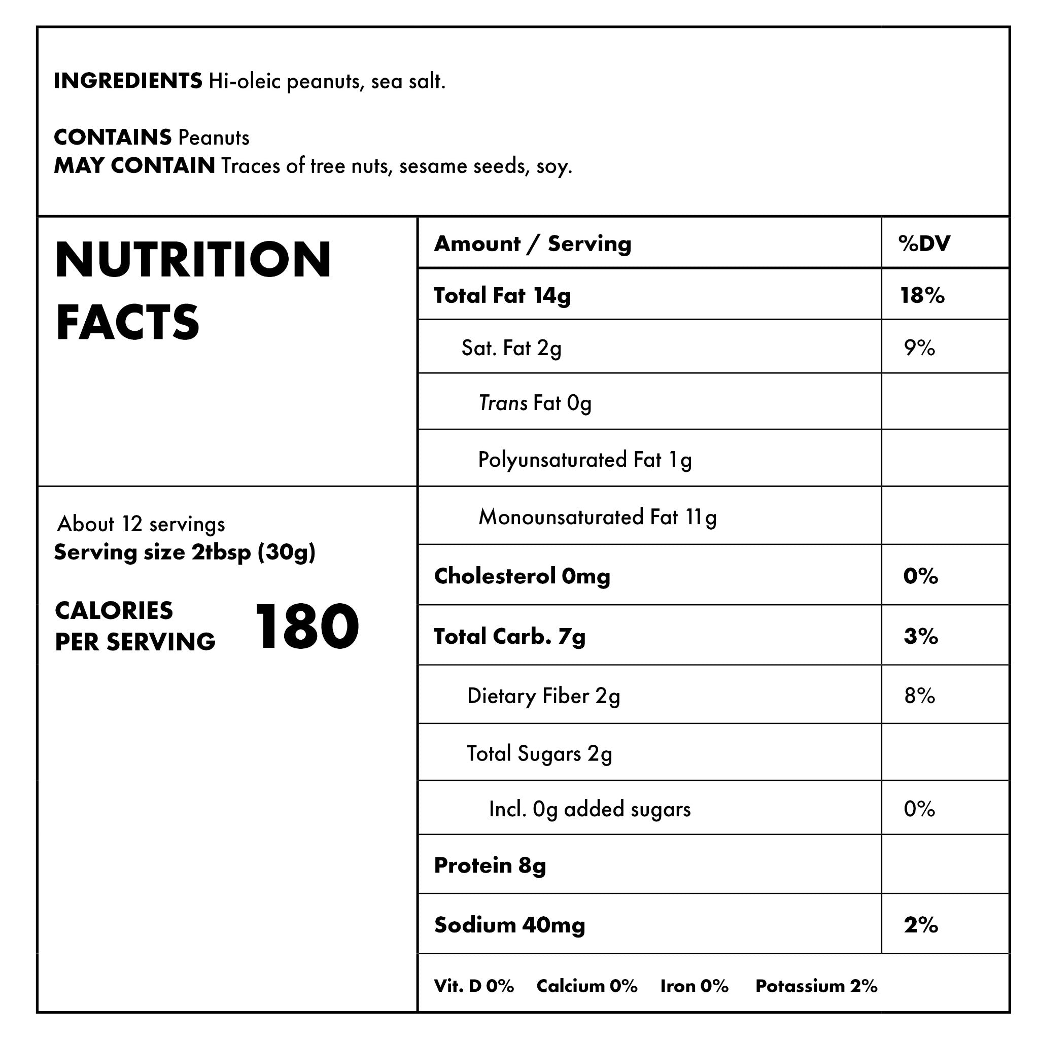 Super Crunchy Nutritional Information