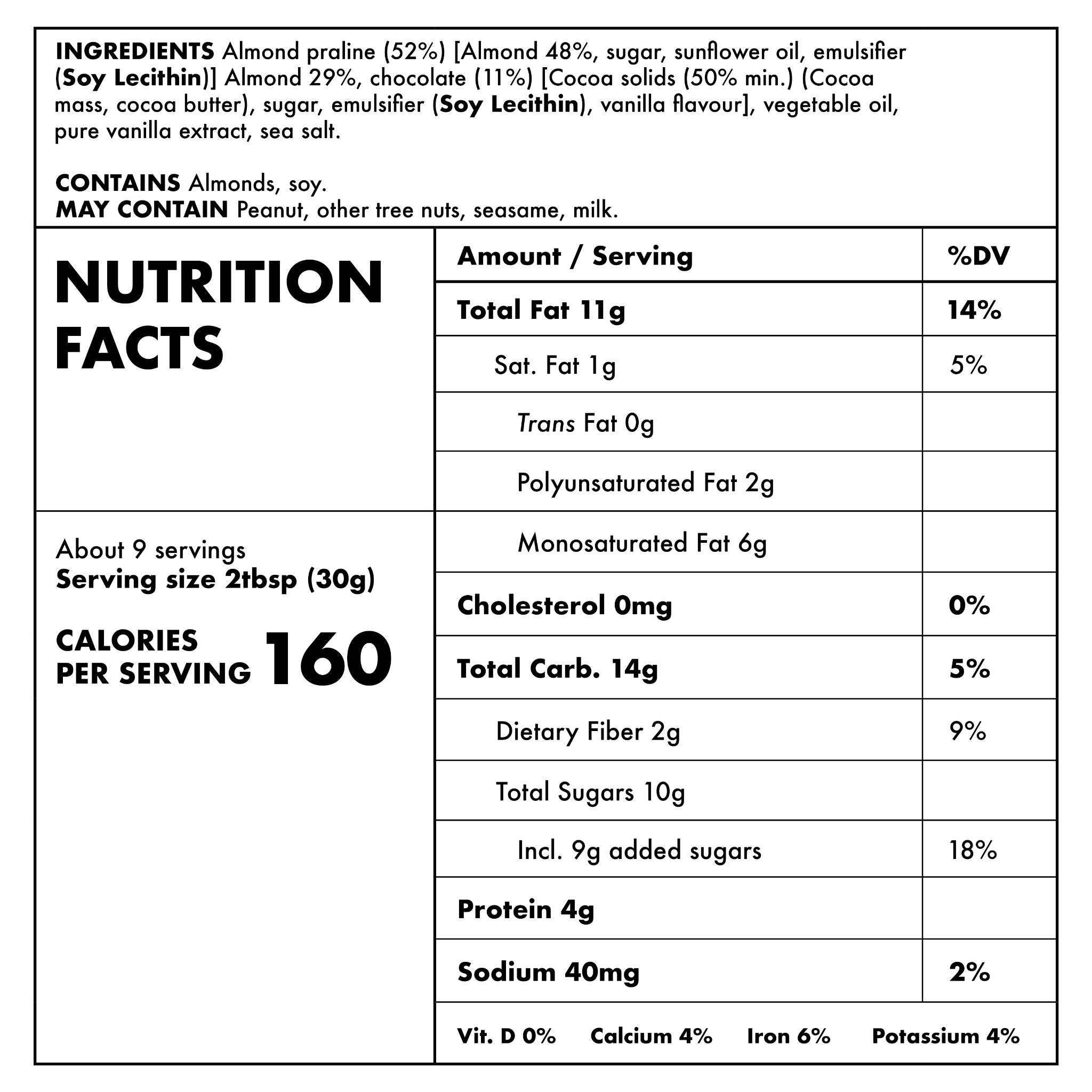 Chocolate Almond Nutritional Information