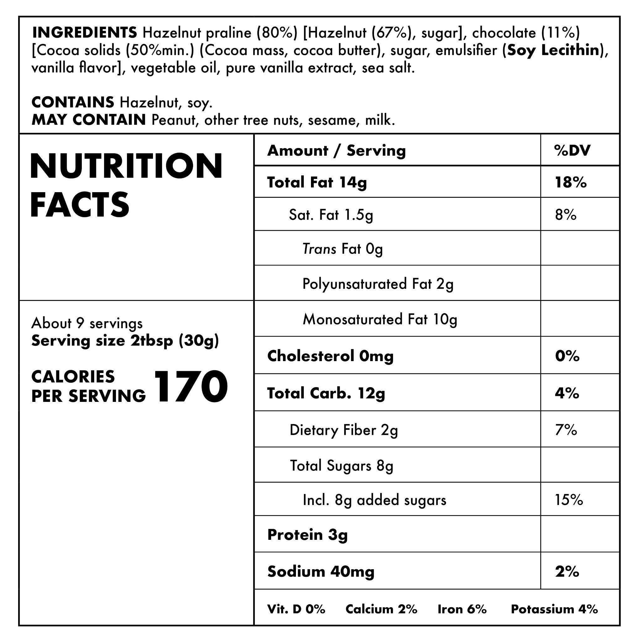Chocolate Hazelnut Nutritional Information