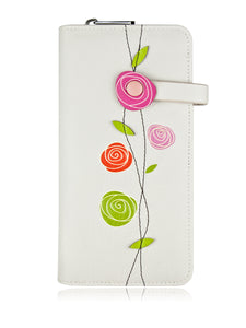 Roses Clutch Wallet Grey
