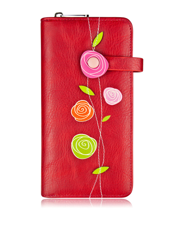 Roses Clutch Wallet Red