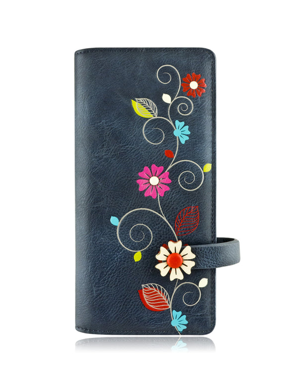 Vine long wallet blue