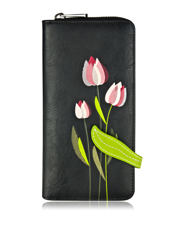Tulip Clutch Wallet Black