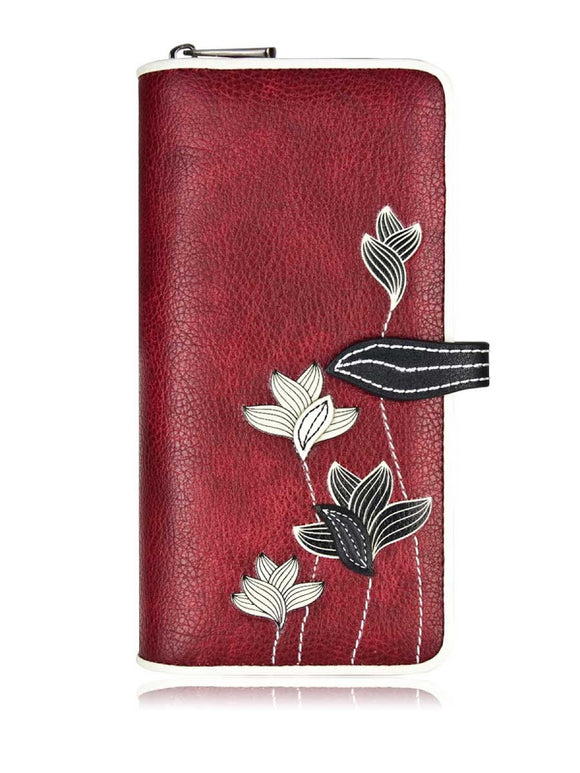 Lotus Clutch Wallet Red